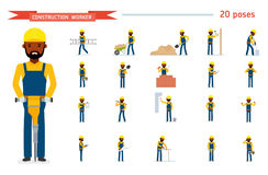 Set of construction worker. Ready to use character set. Isolated against white background. Vector illustration. African American people. Cartoon flat style Stock Image