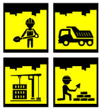 Set construction yellow icons set Stock Photos