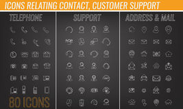 Set of contact, customer support, mail icon collection with lines Stock Photos