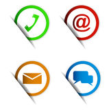 Set of contact icon paper colorful elements Stock Photo