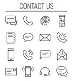 Set of contact us icons in modern thin line style. Stock Photo