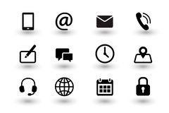 Set of contact us and web communacation icons. Simple flat black vector icons collection isolated on white background royalty free illustration