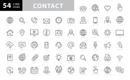 Set of 54 Contact Us web icons in line style.