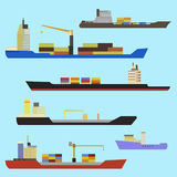 Set of container ship. Set of ships in flat style. Set of container ship, bulker, ro-ro, tanker, dry cargo, ferry boat Stock Image