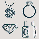 Set contains four icons for jewelry goods ring, earrings, necklace and classic diamond Stock Photography