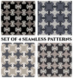 Set of 4 contemporary fractal seamless patterns of black, grey and white shades Royalty Free Stock Photos