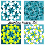 Set of 4 contemporary geometric seamless patterns with rhombus and squares of teal, yellow, blue and white shades Stock Images