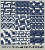 Set of 9 contemporary geometric seamless patterns with windmill, circle, rectangle, square and triangle shapes of blue grey shades Royalty Free Stock Photography