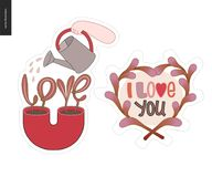 Set of contemporary girlie Love letter logo Stock Photography
