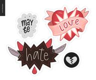 Set of contemporary girlie Love letter logo Royalty Free Stock Photography