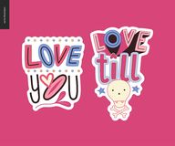Set of contemporary girlie Love letter logo Royalty Free Stock Images