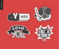 Set of contemporary girlie Love You letter logo Stock Images