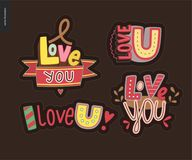 Set of contemporary girlie Love You letter logo Stock Photos