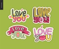 Set of contemporary girlie Love You letter logo Royalty Free Stock Photos