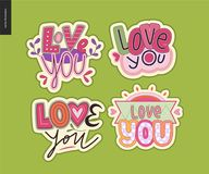 Set of contemporary girlie Love You letter logo Stock Photo