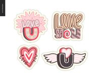 Set of contemporary girlie Love You letter logo Royalty Free Stock Photography