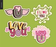 Set of contemporary girlie Love You letter logo Stock Image