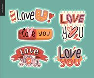 Set of contemporary girlie Love You letter logo Royalty Free Stock Images