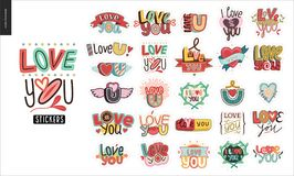 Set of contemporary girlie Love You letter logo Stock Photography
