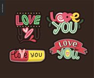 Set of contemporary girlie Love You letter logo Royalty Free Stock Photo