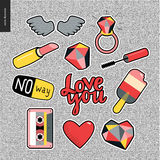 Set of contemporary girly patches elements Stock Photos