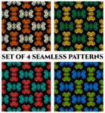 Set of 4 contemporary seamless patterns with colorful decorative ornament on black background Stock Photo