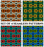 Set of 4 contemporary seamless patterns with fractal decorative ornament. Set of 4 abstract contemporary seamless patterns with fractal decorative ornament of Royalty Free Stock Photos