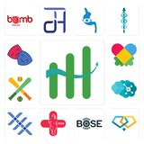 Set of continuous improvement, jewlery, bose, plus size, triple x, neuro, fantasy baseball, autism, drama club icons. Set Of 13 simple  icons such as continuous Stock Photography