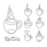 Set of continuous line cups of hot tea or coffee with steam stock illustration