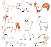 Set of contour animals - birds and mammals Stock Images