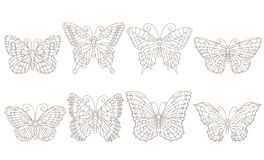 Contour set with butterflies in stained-glass style, dark contours on a white background, coloring book. Set of contour butterflies in stained-glass style, dark royalty free illustration