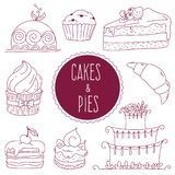 Set of contour cakes and cupcakes in the style of Doodle. Vector vector illustration