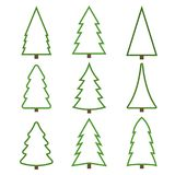 Set of contour christmas trees on a white background royalty free illustration