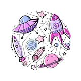 Set of contour colorful child illustrations of stars, spaceships and UFOs. vector illustration