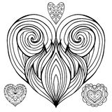 Set of contour doodle hearts with the hair pattern. Royalty Free Stock Photos