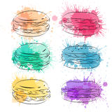 Set contour drawing macaroon with colorful watercolor splashes. Bakery and pastries. Vector element for your creativity Stock Images