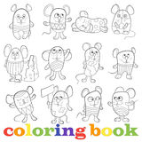 Set of contour funny mouses, coloring book Stock Photos