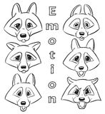 Set of contour heads of wolf -  Collection Vector emotions   Stock Photos