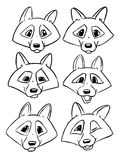 Set of contour heads of wolf - Vector emotions of wolf Royalty Free Stock Images
