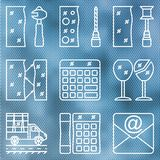 Set contour icons glass processing on the background of corrugated glass. Cutting, grinding and polishing the edges. The cost of glass, glass bonding, transport stock illustration
