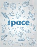 Contour set of icons on the subject of space flight and astronomy, blue  contour  icons on the  writing-book sheet in a cage. Set of contour icons on the subject Royalty Free Stock Photo