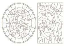 Contour set with Illustration in stained glass style on biblical theme, Jesus baby with Mary , abstract figures on sky background. Set of contour Illustration in vector illustration