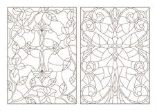 Contour set with Christian cross and flowers ,black contour on white background Royalty Free Stock Images