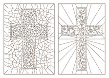 Contour set with illustrations with Christian cross and flowers ,black contour on white background. Set contour illustrations with Christian cross and flowers vector illustration