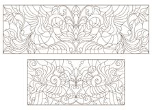 Contour set with illustrations of stained glass with abstract flowers and birds and the dark outline on a white background. Set contour illustrations of stained Stock Images