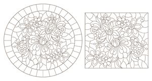Contour set with  illustrations of stained glass with abstract flowers, dark contours on a white background. Set of contour illustrations of stained glass with vector illustration