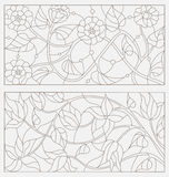 Set contour illustrations of stained glass with abstract flowers Stock Photography