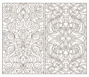 Contour set with  illustrations of stained glass with abstract swirls and flowers , dark contours on a white background. Set contour illustrations of stained royalty free illustration