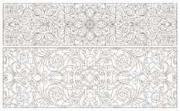 Contour set with  illustrations of stained glass with abstract swirls and flowers , horizontal orientation. Set contour illustrations of stained glass with vector illustration