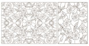 Contour set with  illustrations of stained glass with abstract swirls and flowers , horizontal orientation,  dark contours on a wh. Set contour illustrations of royalty free illustration